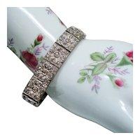 Vintage Art Deco Nov-E-Line Brilliant Paste Clover Pattern Bracelet