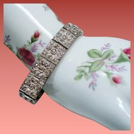Vintage Art Deco Nov-E-Line Brilliant Paste Clover Pattern Bracelet