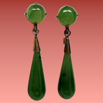 Vintage Nephrite Jade Vermeil Drop Pendant Earrings