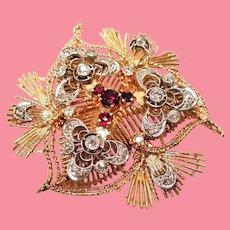 Vintage Old European Cut Diamond Red Spinel 14K Platinum Trefoil Brooch
