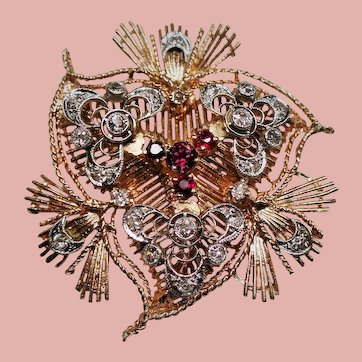 Old European Cut Diamond Red Spinel 14K Platinum Trefoil Brooch