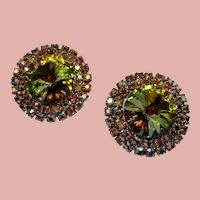 Vintage Olivine Ravoli Crystal and Rhinestone Earrings