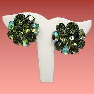Vintage Olivine Green Rhinestone Large Cluster Earrings