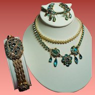 Vintage Original By Robert Aqua Faux Jewels Wire Filigree Necklace Bracelet Earrings Parure
