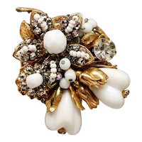 Vintage Original By Robert White Glass Fruit and Rhinestones Brooch