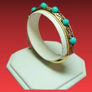 Vintage Panetta Simulated Turquoise Bead Hinged Bangle Bracelet