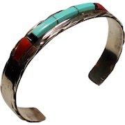 Vintage Panteah Native American Zuni Turquoise Coral Sterling Cuff Bracelet
