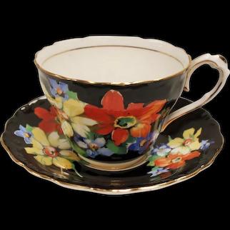 Vintage Paragon England Hand Painted Floral Black Teacup