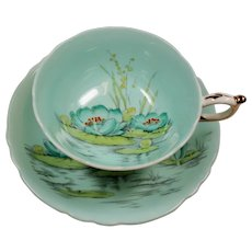 Vintage Paragon Double Warrant English Bone China Aqua Water Lilies Teacup & Saucer