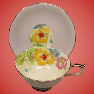 Vintage Paragon England Lavender and Lemon Teacup & Saucer with Hand Painted Flowers