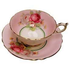 Vintage Paragon England Pink Floral Green Teacup R1006/4