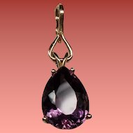Vintage 10 Carat Pear Shaped Amethyst 14K Pendant Enhancer