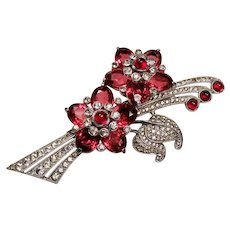 Vintage Pennino Ruby Red Cabochon Diamante Rhinestone Spray Brooch