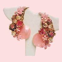 Vintage Pink Mother of Pearl Rhinestone Flower Climber Earrings