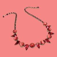 Vintage Pink Moonglow Rhinestone Necklace