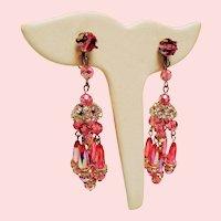 Vintage Pink Aurora Borealis Crystal Rhinestone Rhondelle Chandelier Earrings
