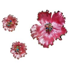 Vintage Pink Enamel Rhinestone Flower Brooch Earrings Set
