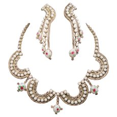 Vintage Painted White Milk Glass Rhinestone Swag Necklace Long Cascading Earrings Set