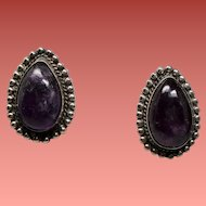 Vintage 1940's - 1950's Mexico Pear Shaped Amethyst Cabochon Silver Screw Back Earrings