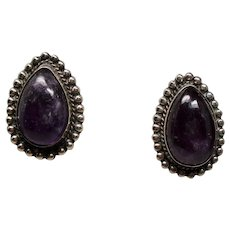 Vintage Mexican Pear Shaped Amethyst Cabochon Silver Screw Back Earrings