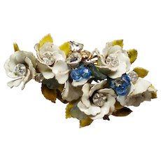 Vintage Enamel Flower Cluster Poured Glass Leaves Rhinestones Brooch