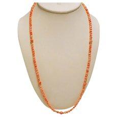 Vintage Petite Coral 14K Bead Matinee Length Necklace Bracelet Set