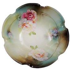 Vintage Reinhold Schlegelmilch R.S. Germany Chrysanthemum Hydrangea Scalloped Bowl
