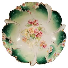 Antique Reinhold Schlegelmilch R.S. Germany Steeple Mold Green Floral  Bowl