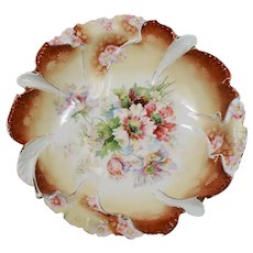 Antique Reinhold Schlegelmilch R.S. Germany Steeple Mold Russet Floral Bowl (As Is)