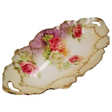 Antique R.S. Prussia Pink White Roses Crimped Scalloped Border Open Handled Celery Dish