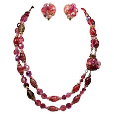 Vintage Raspberry Pink Faceted & Candy Stripe Bead Double Strand Necklace Earrings Demi Parure