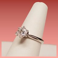 Estate Round Brilliant Diamond Solitaire 14K White Gold Engagement Ring