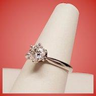 Estate Round Brilliant Diamond Solitaire 14K White Gold Engagement Ring