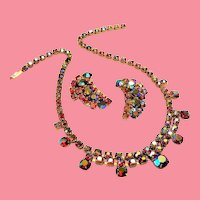 Vintage Red Aurora Borealis Rhinestone Necklace Earrings Set