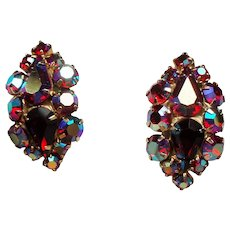 Vintage Red Aurora Borealis Rhinestone Earrings