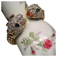Vintage Rhinestone Panther Head Flexible Cuff Bracelet