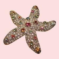 Vintage Rhinestone Encrusted Starfish Brooch