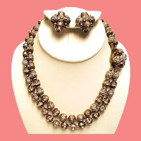 Vintage Two Tone Rhinestone Rondelle Filigree Ball Double Strand Necklace Earrings Set