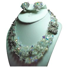 Vintage Original By Robert Crystal Bead Rhinestone Ball Triple Strand Necklace & Earrings Set