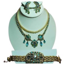 Vintage Original By Robert Aqua Faux Jewels Wire Filigree Necklace Bracelet Earrings Parure