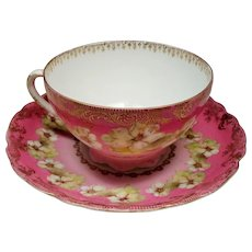 Antique Rosenthal Germany Pink Floral Teacup and Saucer