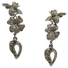 Vintage Roxanne Assoulin Rhinestone Bee Flower Heart Extra Long Drop Earrings