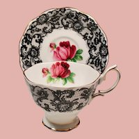 Vintage Royal Albert England Senorita Red Roses Black Lace Teacup & Saucer