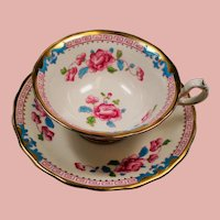 Vintage Royal Chelsea Turquoise Pink Roses Greek Key Teacup and Saucer