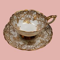 Vintage Royal Stafford England Gold Grape Leaves Teacup and Saucer
