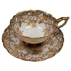 Vintage Royal Stafford England Gold Grape Leaves Teacup and Saucer