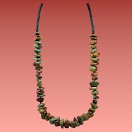Vintage Native American Royston Green Turquoise Large Nugget Heishi Bead Long Necklace