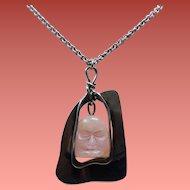 Vintage Pink Rose Quartz Mask Hand Wrought Sterling Pendant Necklace