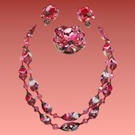 Vintage Raspberry Pink Crystal Bead Enamel Flowers Necklace Brooch Earrings Set
