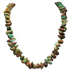 Vintage Native American Royston Green Turquoise Large Nugget & Heishi Bead Long Necklace